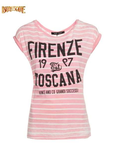 Różowy t-shirt w paski z napisem FIRENZE TOSCANA
