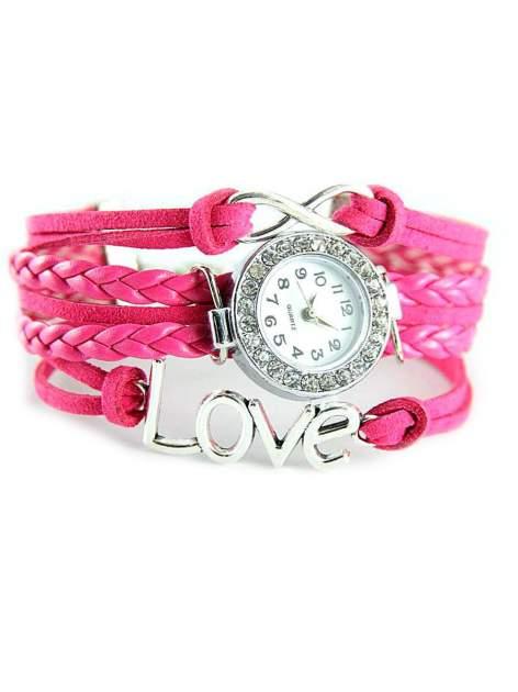 Różowy zegarek damski na skórzanym , plecionym sznurku