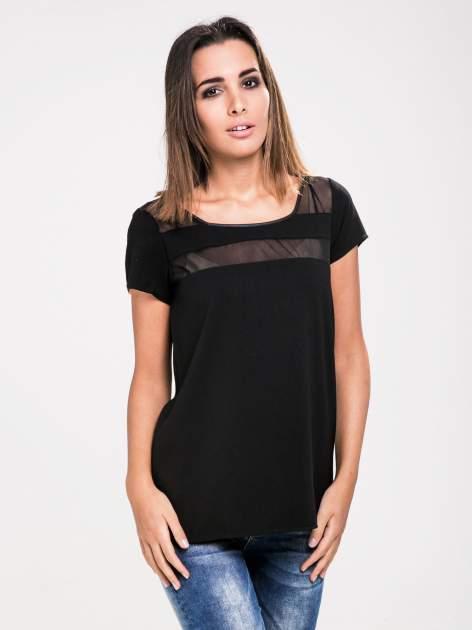 STRADIVARIUS Czarny t-shirt ze wstawkami z siateczki