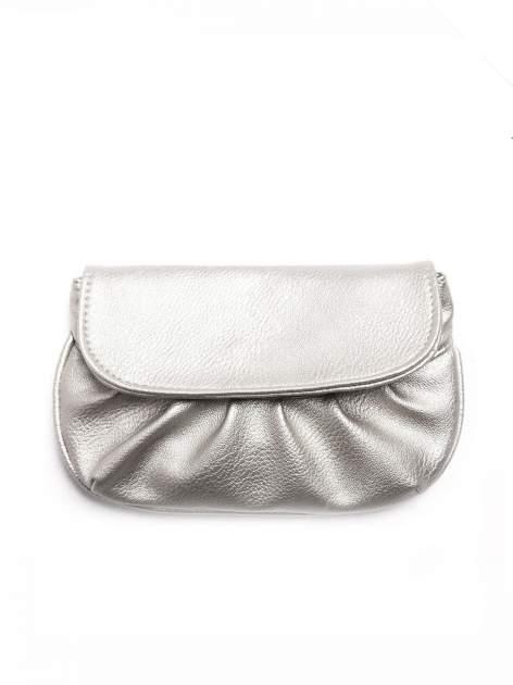 Srebrna mini torebka kopertówka z paskiem