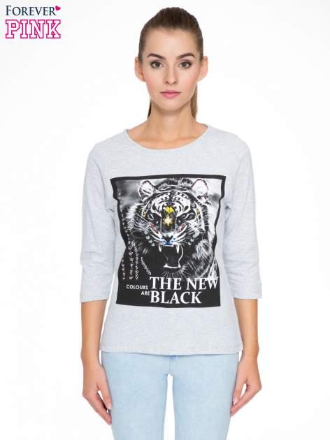 Szara bluzka z nadrukiem tygrysa i napisem THE NEW COLOURS ARE BLACK