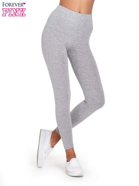 Szare melanżowe legginsy damskie basic