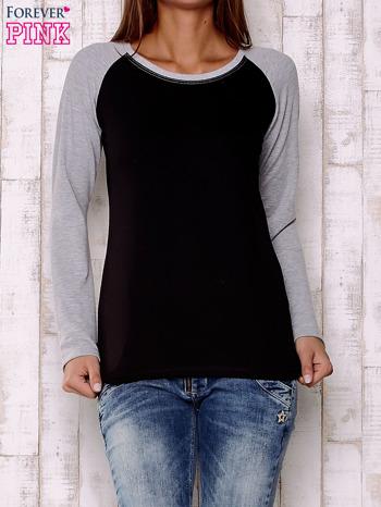 Szaro-czarna gładka bluza