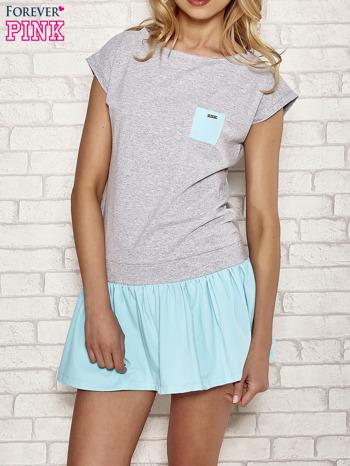 Szaro-turkusowa dresowa sukienka tenisowa z kieszonką