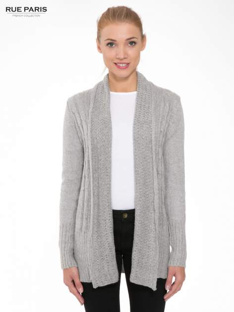 Szary ażurowy długi sweter typu kardigan