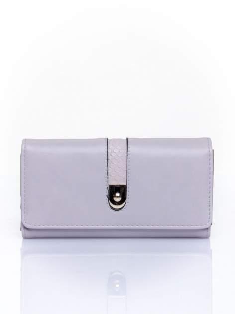 Szary portfel ze złotym zapięciem