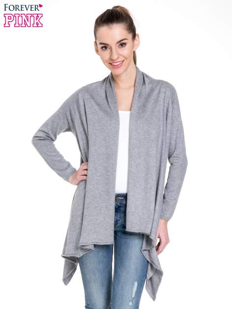 Szary sweter narzutka z kaskadowymi bokami