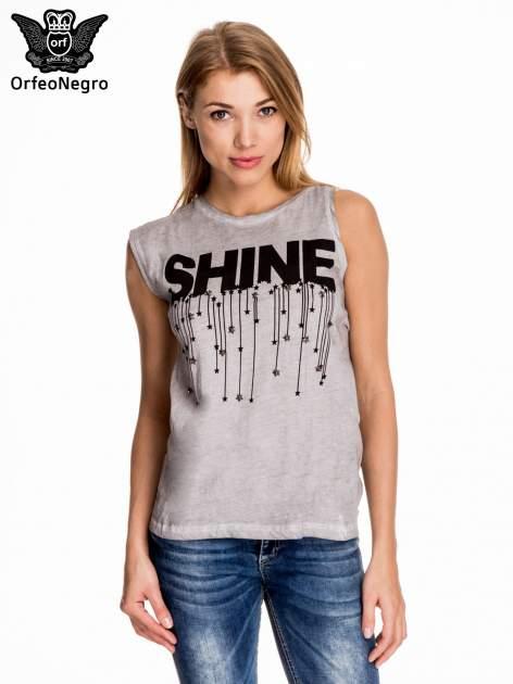 Szary t-shirt z nadrukiem SHINE z gwiazdkami