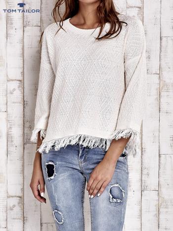 TOM TAILOR Ecru sweter z graficznym wzorem i frędzlami