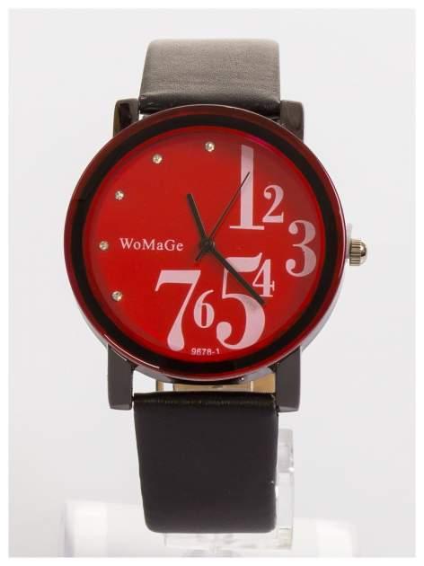 WoMaGe Czerwony zegarek damski z cyrkoniami na skórzanym pasku