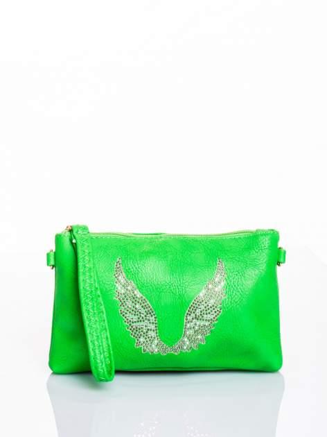 Zielona kopertówka z dżetami motyw skrzydeł