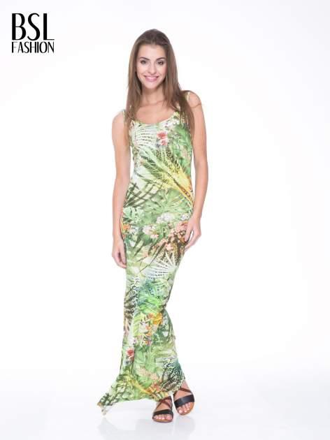 Zielona sukienka maxi w egzotyczny nadruk palm