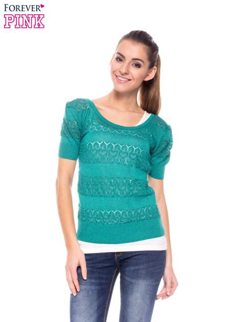 Zielony ażurowy sweterek w stylu retro