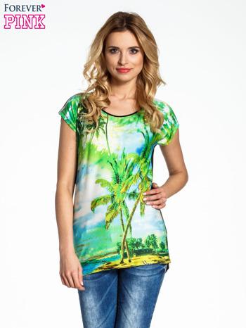 Zielony t-shirt z motywem egzotycznym