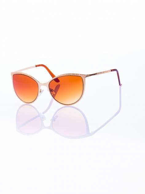 """Złote okulary przeciwsłoneczne w stylu """"KOCIE OCZY"""""""