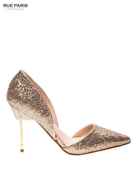 Złote szpilki glitter na metalowej szpilce