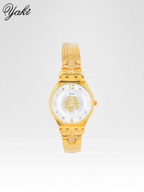 Złoty biżuteryjny zegarek damski z białą tarczą