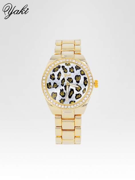 Złoty zegarek damski na bransolecie z panterkową tarczą