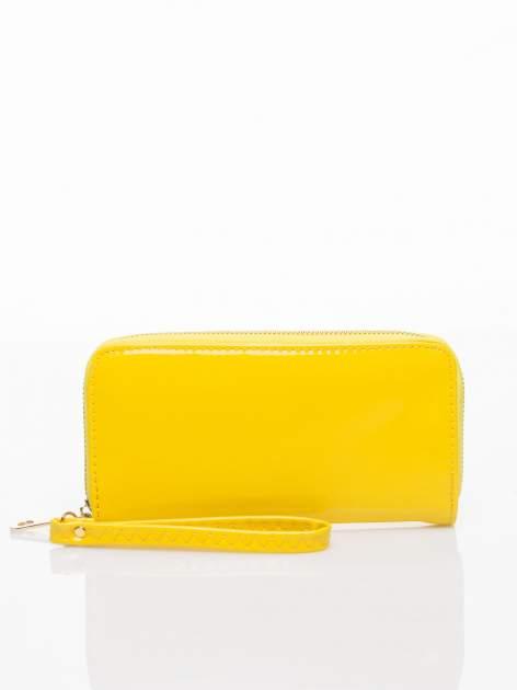 Żółty lakierowany portfel z rączką