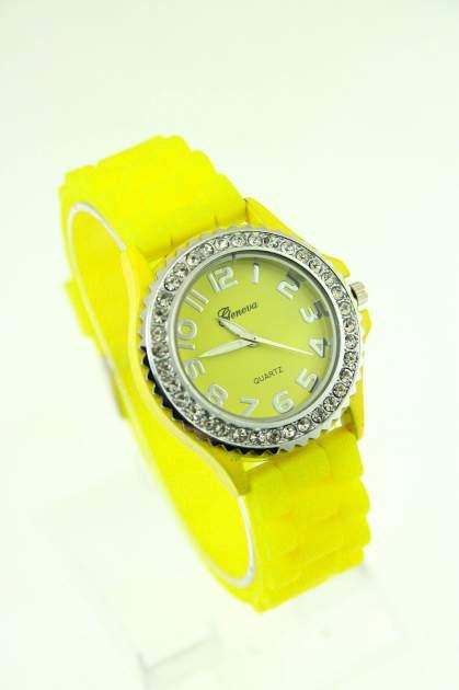 Żółty zegarek damski na silikonowym pasku