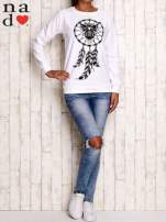 Biała bluza z motywem sowy i łapacza snów