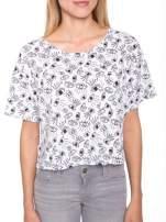 Biały luźny krótki t-shirt z kieszonką w nadruk oczu