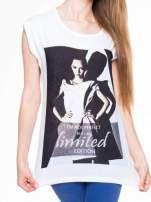 Biały t-shirt z nadrukiem I'M NOT PERFECT BUT I AM LIMITED EDITION