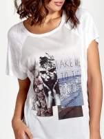 Biały t-shirt z nadrukiem TAKE ME TO THE OCEAN z dżetami