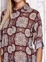 Bordowa koszula w ornamenty kwiatowe