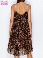 Brązowa sukienka w panterkę na złotych ramiączkach