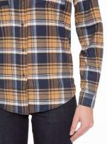 Brązowo-granatowa damska koszula w kratę z kieszonkami