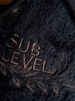 Ciemnofioletowa pluszowa bluza miś zapinana na guziki