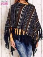 Ciemnoniebieskie poncho w etniczne wzory z frędzlami