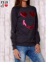 Ciemnoszara bluza z motywem emoji