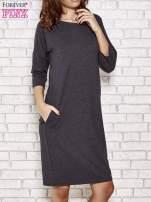 Ciemnoszara prosta sukienka dresowa