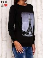 Czarna bluza z motywem Wieży Eiffla