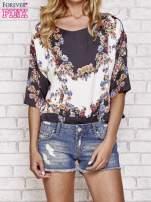 Czarna bluzka koszulowa w kwiaty