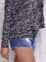 Czarna melanżowa bluzka z kieszeniami z przodu