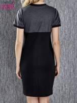 Czarna melanżowa sukienka ze złotymi guzikami