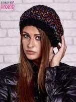 Czarna melanżowa włóczkowa czapka z mankietem