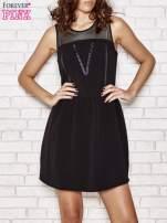 Czarna sukienka z siateczkową górą