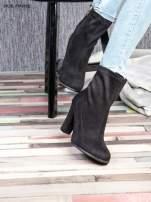Czarne zamszowe botki na wysokim słupku