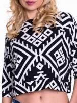 Czarno-biała bluzka cropped w azteckie wzory