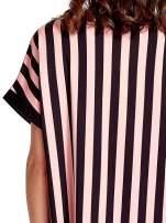 Czarno-różowa tunika w pionowe pasy