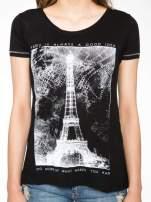 Czarny t-shirt z nadrukiem wieży Eiffla