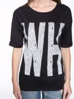 Czarny t-shirt z nadukiem WHY? z przodu i na plecach