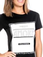 Czarny t-shirt z napisem AMORE