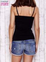 Czarny top basic na cienkich ramiączkach