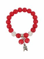 Czerwona Bransoletka koralikowa z zawieszką w kształcie wieży eiffla