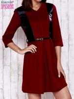 Czerwono-czarna sukienka ze skórzanymi wstawkami
